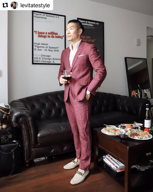 8 Valentine's Day Outfits for Men - Dark Pink Suit