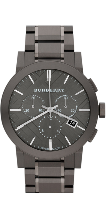 Burberry Large Chronograph Bracelet Watch, 42mm Gunmetal