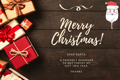 Image of Santa with gifts background Merry Christmas written on it.