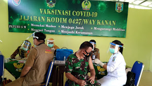 Personel Kodim 0427/Way Kanan Terima Suntik Vaksin Tahap Pertama
