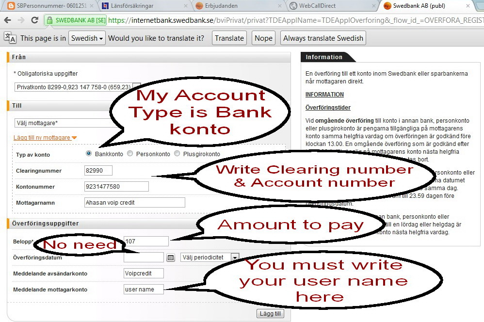 sweden bank account validation