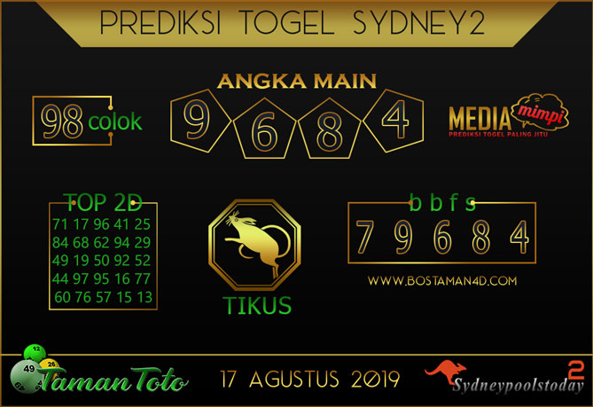 Prediksi Togel SYDNEY 2 TAMAN TOTO 17 AGUSTUS 2019