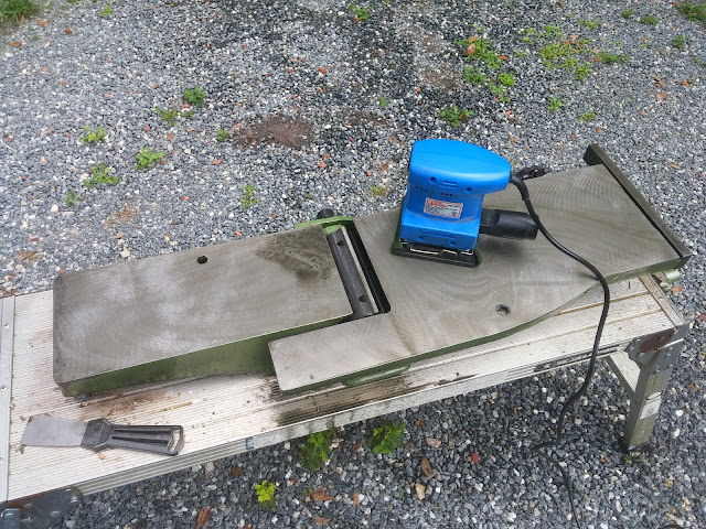 Shopsmith Central Machinery Jointer With Sander Used With Scotch Brite Pad To Remove Rust