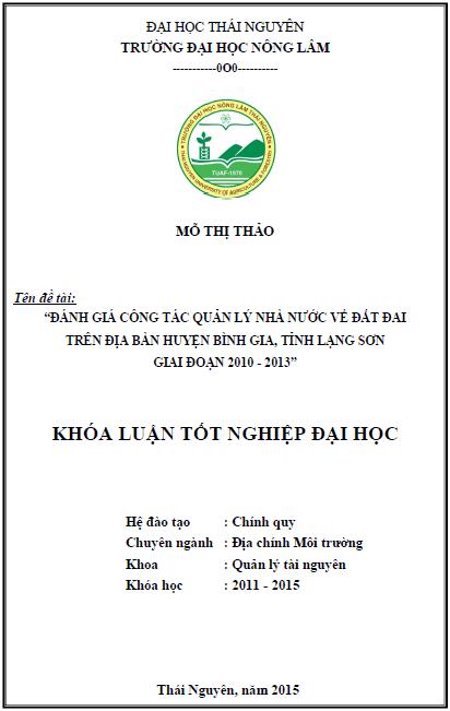 Đánh giá công tác Quản lý Nhà nước về đất đai trên địa bàn huyện Bình Gia tỉnh Lạng Sơn giai đoạn 2010 – 2013