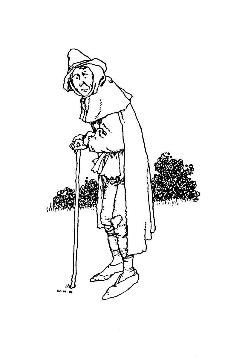 a W. Heath Robinson illustration of a poor taveller smiling