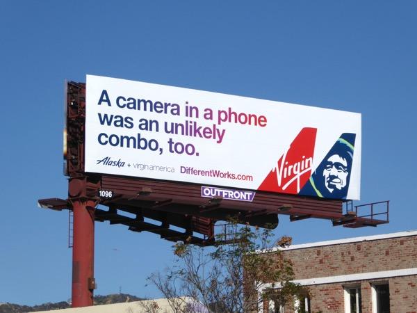 Virgin America Alaska unlikely combo billboard