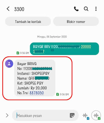 Top Up ShopeePay Via SMS Banking BRI