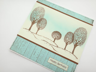 Winter Trees Hand Stamped Birthday Card