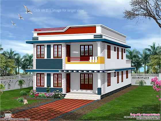 New Home Design: 2325 sq.feet flat roof house elevation