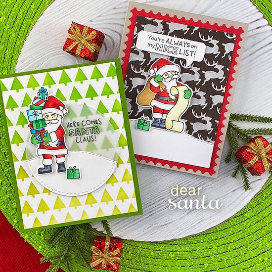 Santa Cards by Jennifer Jackson | Dear Santa Stamp Set, Tiny Trees Stencil, Reindeer Stencil, Circle Frames Die Set, Land Borders Die set and Framework Die Set by Newton's Nook Designs #newtonsnook #handmade