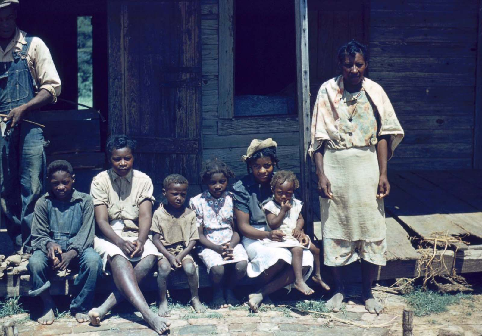 A family at Bayou Bourbeau plantation, a Farm Security Administration cooperative in Louisiana. 1940.