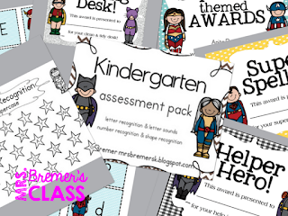 Superhero themed classroom decor and back to school activities and a superhero freebie!