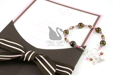 Pink and Brown Birthday Invitation with Handmade Custom Beaded Sweet 16 Bracelet