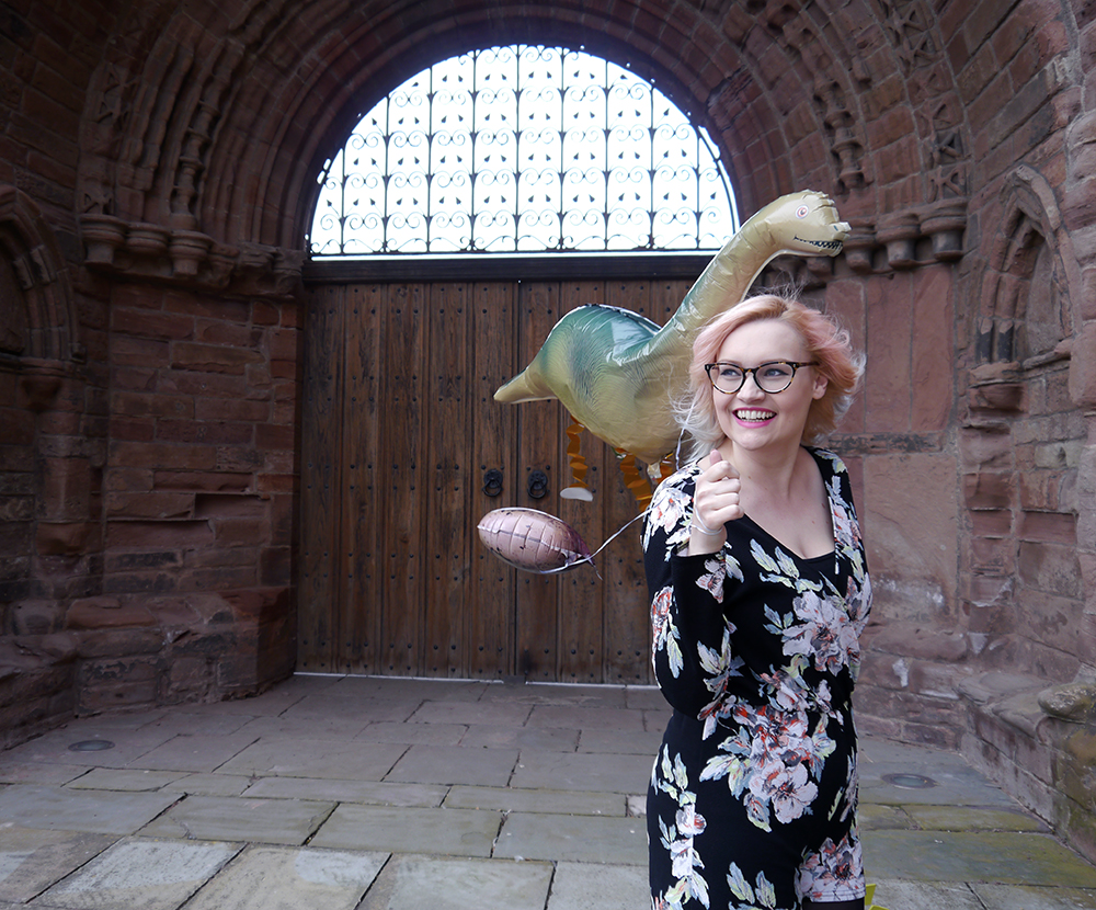dinosaur themed fashion shoot, Arbroath Abbey, fun colourful blogger shoot, floral Boohoo jumpsuit, pnk and blue ombre hair DIY, Kimberley from Wardrobe Conversations