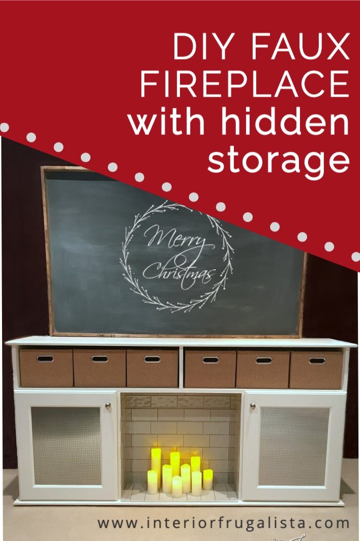 How to build a DIY Faux Fireplace with handy hidden storage by Interior Frugalista. Perfect fireplace idea for a rental! #diyfireplace #fauxfireplace #fireplaceidea