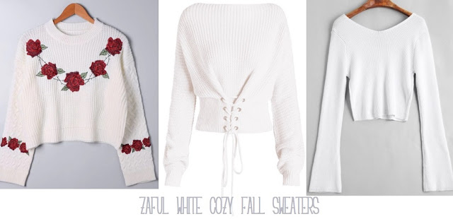 White cozy fall sweaters are a must now that autumn has fully blown and we need new comfy and warmer pieces for our closet. #zafulclothing #whitesweaters #cozyfall #autumnsweaters #whiteclothing #fashion #embroideredsweater #fashionwishlist #fallclothing