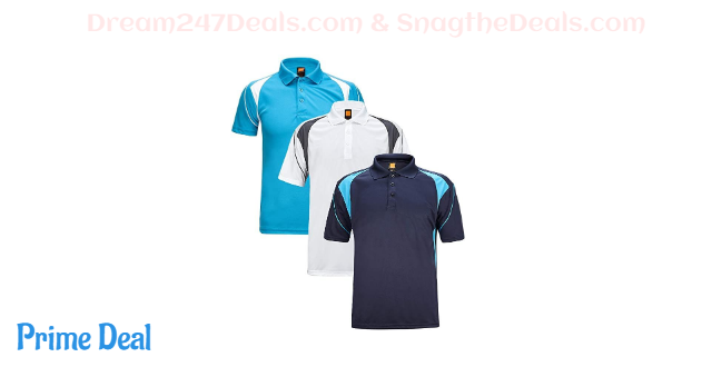 45% OFF  GEEK LIGHTING Mens Golf Polo Shirts Quick-Dry Moisture-Wicking Athletic Short Sleeve