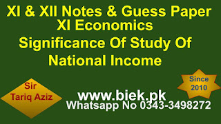 XI Economics Significance Of Study Of National Income