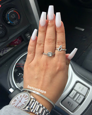 coffin nails acrylic white