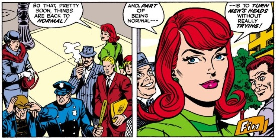 Two panels side by side. In the first, Jean walks away from a crowd that surrounds a policeman and a thief. Her dialogue reads, 'So that, pretty soon, things are back to normal!' In the second, we zoom in on Jean's face while two white men behind her oggle her. The dialogue reads, 'And, part of being normal is to TURN MEN'S HEADS without really TRYING!'
