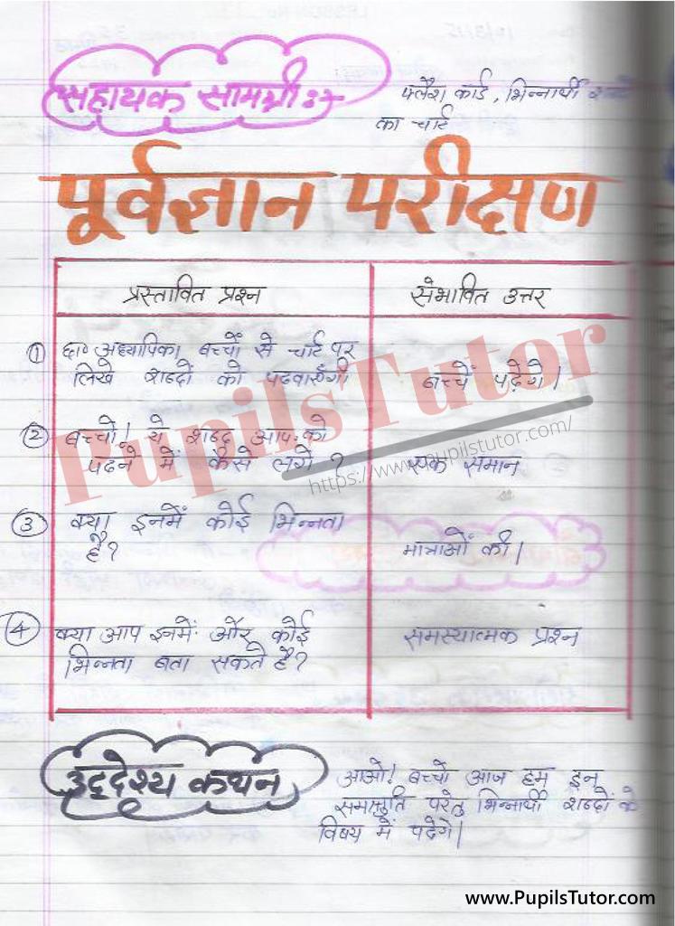 बीएड ,डी एल एड 1st year 2nd year / Semester के विद्यार्थियों के लिए हिंदी की पाठ योजना कक्षा 4,5,6 , 7 , 8, 9, 10 , 11 , 12   के लिए श्रुतिसम समोच्चारित भिन्नार्थक शब्द टॉपिक पर