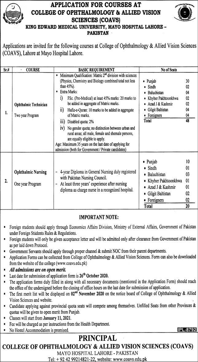 King Edward Medical University Latest Job Advertisement in Pakistan