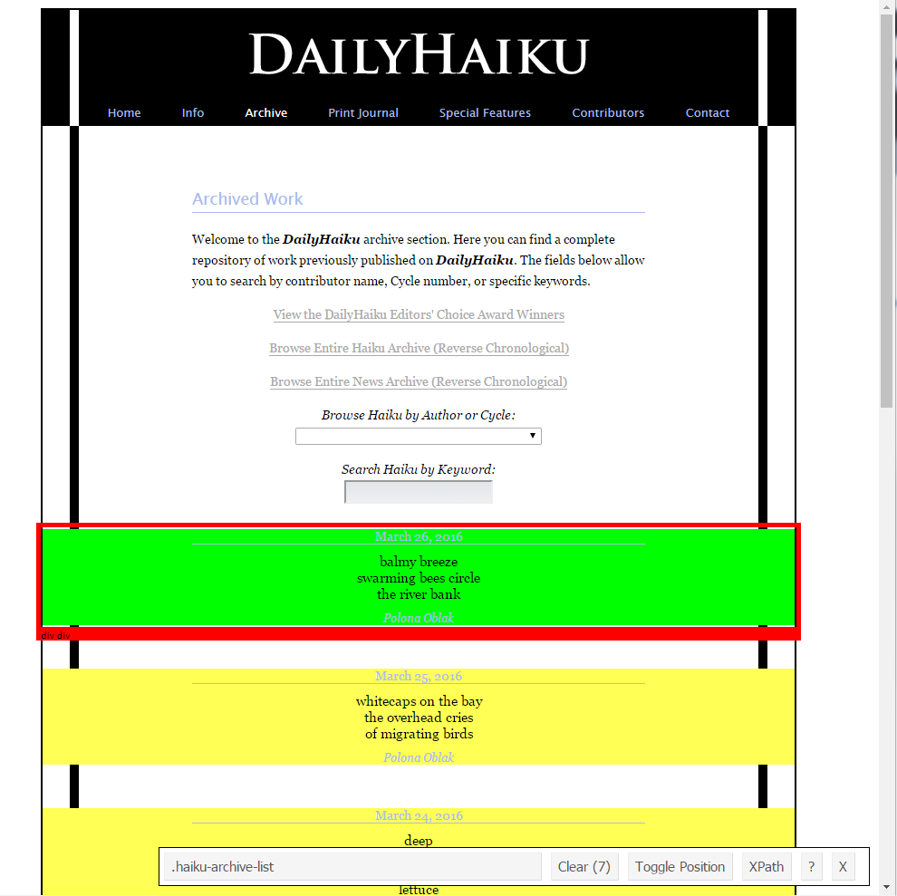 Bernhard Learns: Webscraping with R and rvest - How can I get all Haiku?
