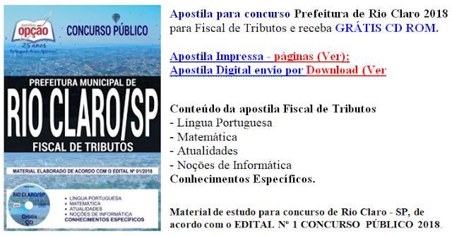 Apostila Prefeitura de Rio Claro Fiscal de Tributos 2018