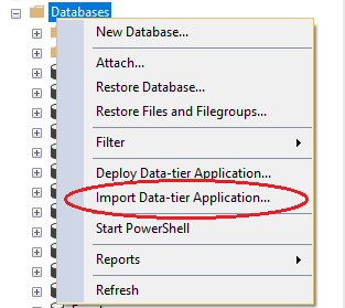 BACPAC file Import Option in SQL Server
