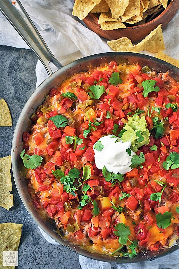 Hot Mexican Dip Skillet ready to serve with chips