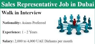 Sales Representative Job Recruitment in Dubai, UAE