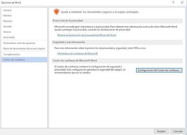 No se puede abrir en documentos de Microsoft Word