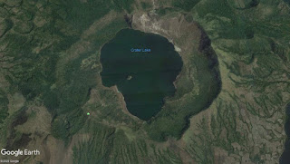 The Taal Crater Island was lush green before the 2020 volcano eruption.  Image credit:  Google Earth.