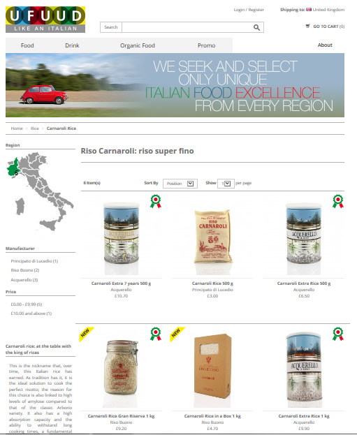 Ufuud online distributor of high-end Italian food products