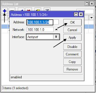 Menambah IP Untuk Interface Hotspot