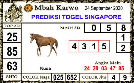 Pred Mbah Karwo SGP Kamis 24 September 2020