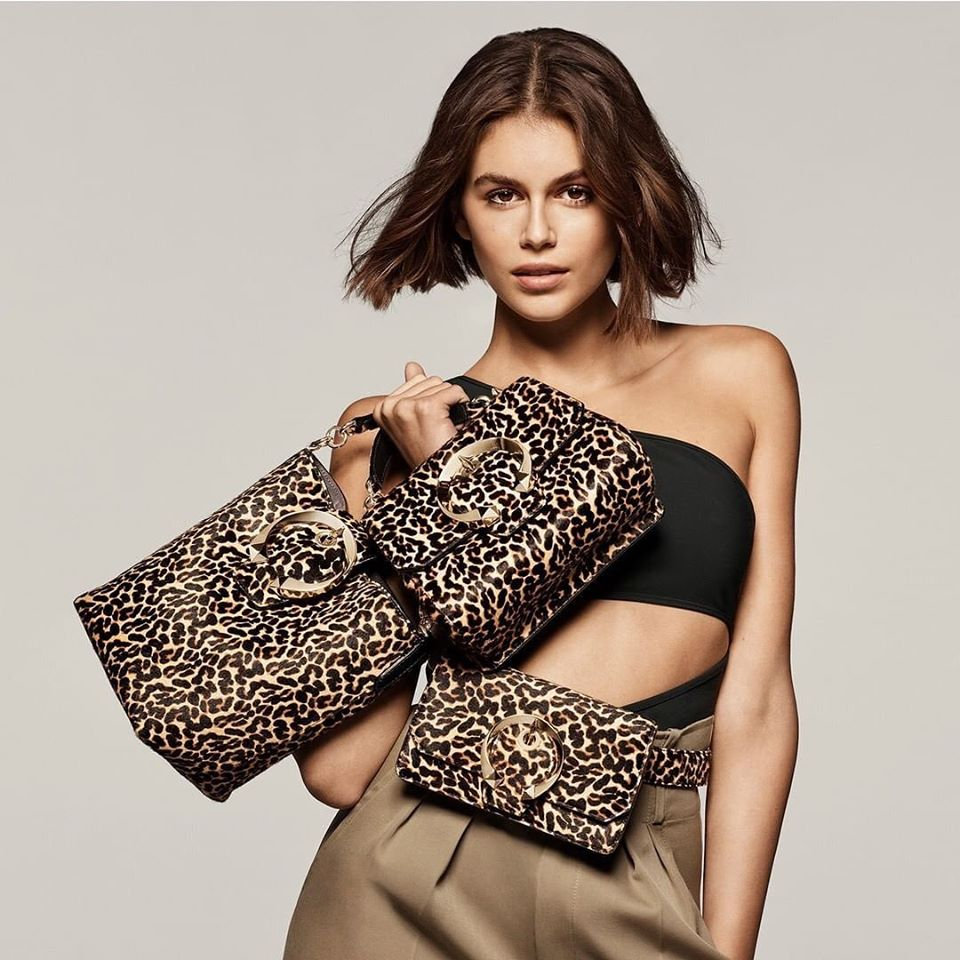 Kaia Gerber poses for the Jimmy Choo Spring/Summer 2020 Campaign