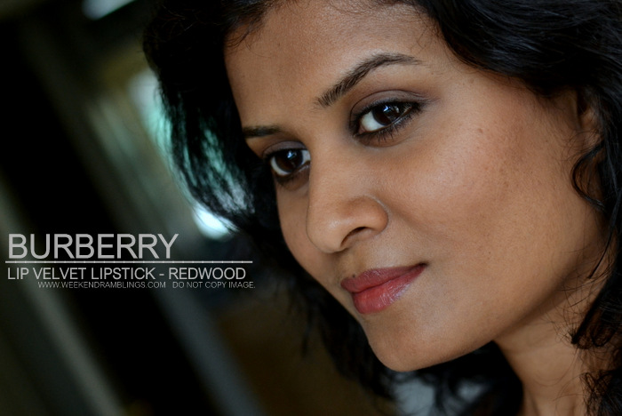 Burberry lip velvet long wear lipstick matte redwood rose brown indian darker skin swatches makeup looks fotd beauty blog reviews ingredients