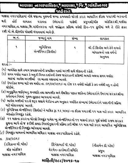Mansa Nagarpalika Municipal Engineer Post Recruitment 2016