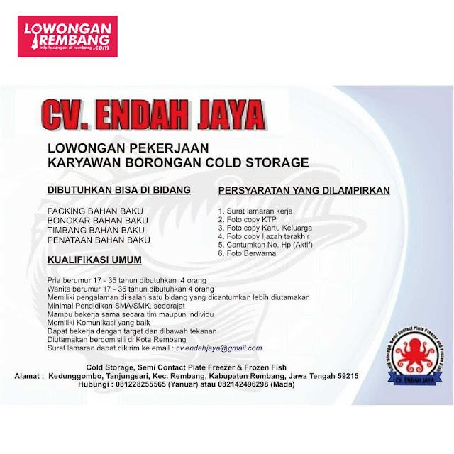 Lowongan Kerja Karyawan Borongan Cold Storage CV Endah Jaya Rembang