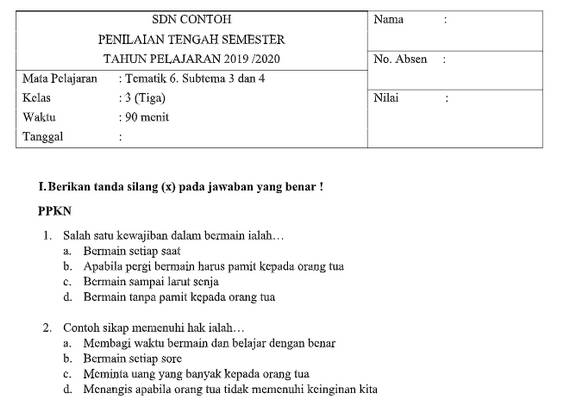 Soal PTS Kelas 3 Tema 6 Subtema 3 dan 4 dengan Kunci Jawaban