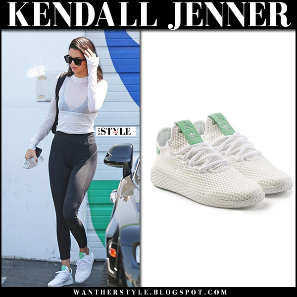 Kendall Jenner in white green mesh Adidas Pharrell HU tennis sneakers august 30 2017