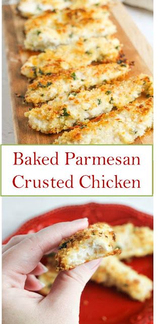 Baked Parmesan Crusted Chicken #Baked #Parmesan #Crusted #Chicken #BakedParmesanCrustedChicken