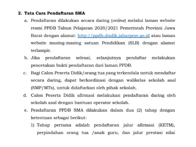 Persyaratan dan Tata Cara Pendaftaran PPDB SMA di Jawa Barat Tahun 2020