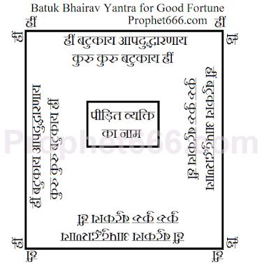 Batuk Bhairav Yantra for Good Fortune and Shatru Nash