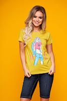 Tricou din bumbac cu print modern