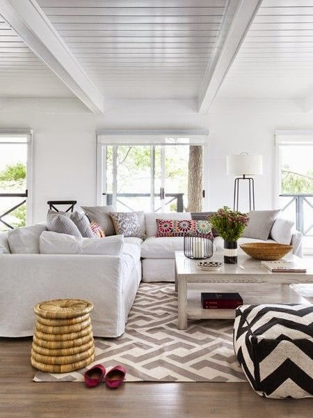 eclectic modern bohemian black white gray living room