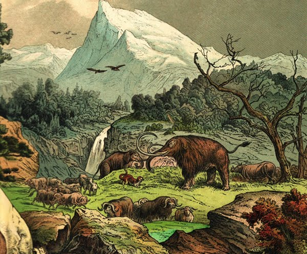 Caveman And Dinosaurs : Love in the time of chasmosaurs vintage dinosaur art