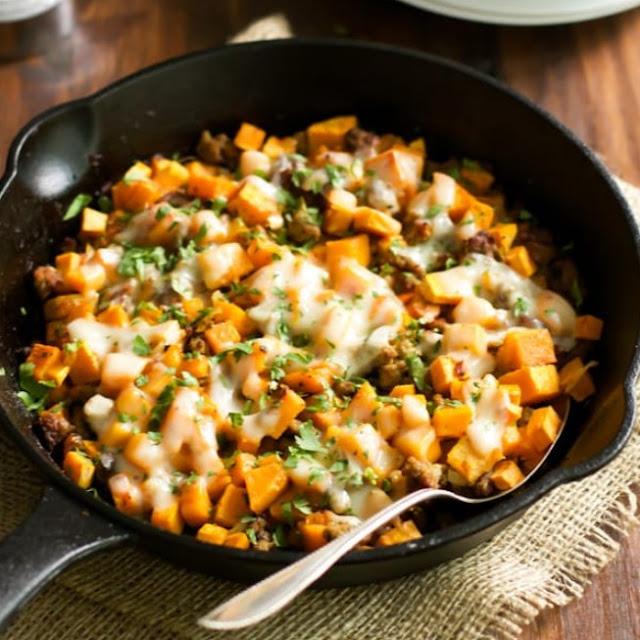 Ground Turkey Sweet Potato Skillet #healthy #lowfat