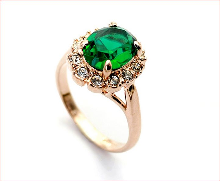 Green Ring Gold Plated